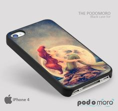Ariel Little Mermaid moon for iPhone 4/4S, iPhone 5/5S, iPhone 5c, iPhone 6, iPhone 6 Plus, iPod 4, iPod 5, Samsung Galaxy S3, Galaxy S4, Galaxy S5, Galaxy S6, Samsung Galaxy Note 3, Galaxy Note 4, Phone Case