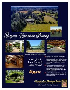 Real Estate NOW for sale at $699,000! Come and view this gorgeous four bedroom, two full and one half bath, 3115 square foot one level Salmon Creek equestrian home on 5.41 acres with a HUGE indoor/outdoor arena located at 17101 NE 40th Avenue, Vancouver, Washington 98686 in Clark County area 44 which is the North Salmon Creek area in Vancouver. The RMLS number is 16422890. It has three fireplaces and a mountain view which includes a view of trees. It was built in 1971 and has an attached…