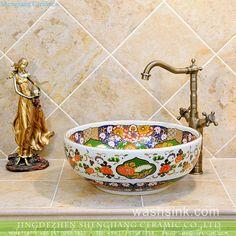New produced Jingdezhen Jiangxi typical floral art ceramic sink Corner Sink, Porcelain, Ceramic Clay, Ceramics, Ceramic Sink, Royal Pattern, Decorative Bowls, Bathroom Art, Sink