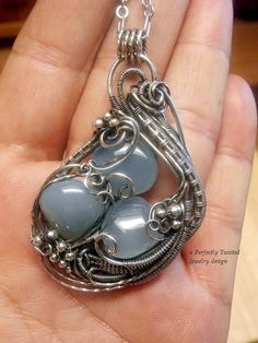 Wire Wrapped Pendant Necklace Sterling Silver от PerfectlyTwisted