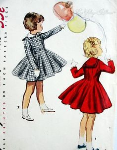 1950s Adorable Little Girls Princess Style Double Breasted Coat Pattern Detachable Sailor Collar Very Cute Design Simplicity 1020 Childrens ...