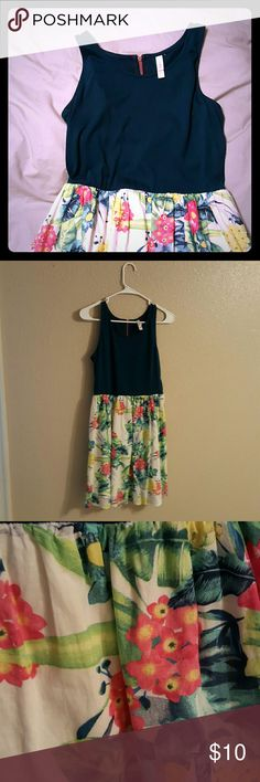 Xhilaration floral dress Blue floral drss with pink accent zipper. Very breezy for spring. Xhilaration Dresses