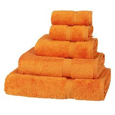 Shop for Orange Towels from our Bathroom Accessories range at John Lewis & Partners. New Bathroom Ideas, Family Bathroom, Autumn Interior, Egyptian Cotton Towels, Oranges And Lemons, Amish Furniture, Upstairs Bathrooms, Bath Linens