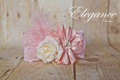 Beautiful Boho Blush Pink Girls Lace Feather by greenearthstudio