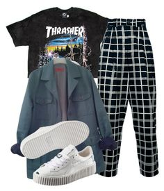 """Untitled #1423"" by shyannelove123 ❤ liked on Polyvore featuring Versace, HUGO and Puma"
