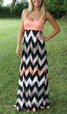 Womens Sleeveless Chevron Style Striped Long - Full Length Summer Beach Dress - Must Have!