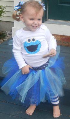 Cookie Monster Sesame Street tutu set outfit 0 3 6 9 12 18 24 mos. 2T 3T 4/5. $30.00, via Etsy.