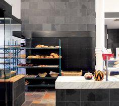 LEMAYMICHAUD   INTERIOR DESIGN   ARCHITECTURE   QUEBEC   CAFE   RESTAURANT   BAKERY   Café-boulangerie Paillard Café Restaurant, Architecture, Kitchen, Design, Home Decor, Bakery Cafe, Cooking, Homemade Home Decor, Home Kitchens