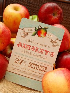 Vintage Apple Orchard Invitation for Birthday Party or Baby Shower - Girls DIY Printable Invite by BeeAndDaisy - Featured on Amy Atlas on Etsy, $12.00