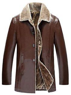 44f2b52d19a2 Jotebriyo Men's Mid Length Pu Leather Fleece Moto Biker Lapel Warm Winter  Windbreaker Jacket Coat Brown