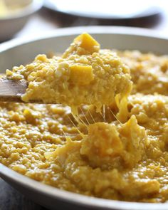 Creamy Squash Curry Quinoa. Made with dry quinoa, vegetable broth, butternut or kabacha squash, garlic, onion, yellow curry paste, salt, coconut milk, and good quality cheese (gouda and maasdam).