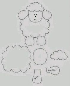 Pattern for the felt sheep which could be changed into a kitty Applique Templates, Applique Patterns, Applique Designs, Sheep Crafts, Felt Crafts, Easter Crafts, Felt Christmas Ornaments, Christmas Crafts, Diy Ostern