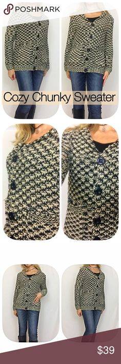 """Cozy & Cute Chunky Sweater Black & Cream SML Get ready to be cozy & cute in this gorgeous Chunky Button Up sweater with hidden pockets. In cream & black 100% soft acrylic.   Small 2/4 Bust 40"""" Length 23"""" Medium 6/8 Bust 41"""" Length 23.5"""" Large 10/12 Bust 42"""" Length 24"""" Sweaters Cardigans"""
