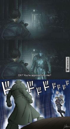 X is so menacing . Do you like memes? visit my site for many more anime memes. Funny Gaming Memes, Stupid Funny Memes, Funny Relatable Memes, Haha Funny, Memes Humor, Video Game Memes, Video Games Funny, Funny Games, Resident Evil Game