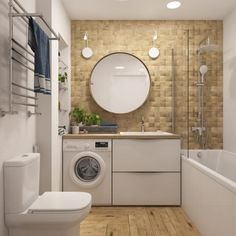 Simple tricks to create more space in a small bathroom Bathroom Design Small, Bathroom Interior Design, Modern Bathroom, Narrow Bathroom, 18 Bathroom Vanity, Laundry In Bathroom, Home Room Design, House Design, Stucco Homes