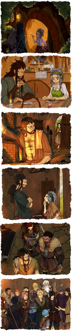 Fairy tail/The Hobbit Gajeel is the King, Natsu is his cousin, Happy is Natsu's little brother, & Rogue and Sting are his nephews.