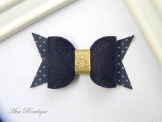 Baby Bow Hair Clip - Bow Hair Clip - Navy Bow Hair Clip - Felt Bow Hair Clip by AvaBowtiquee on Etsy