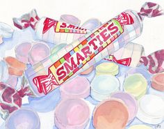 Watercolor Painting - Smarties Candy - Watercolor Art Print - 11x14 Wall Art - Candy Series no. 1