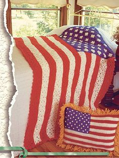 Stars and Stripes II  Display American pride in your home with this afghan and pillow.  Designed by Dora Lurepa Ramirez and Annie Parton  This is made of granny squares.  free pdf from free-crochet.com