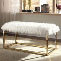Carolyn Beige Faux Fur Bench | Pier 1 Imports
