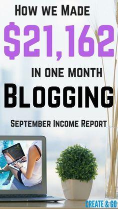 Blog Income Report Steptember 2016 | Make Money Blogging | Blog for Money | Blog Tips | http://createandgo.co/income-report-for-september-2016/