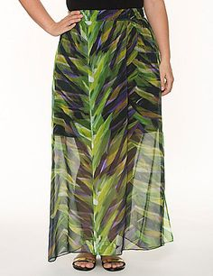 Floating chiffon skirt updates your wardrobe with a chic botanical print and elegant long length that wears anywhere. Lined to the knee and sheer to the hem with a flirty side slit. Pull-on style with an elastic waist.   lanebryant.com