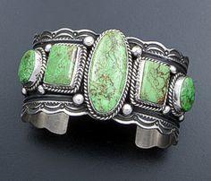 Guy Hoskie - Five Stone Gaspeite & Sterling Silver Scalloped Cuff Bracelet #38321 $1,245.00
