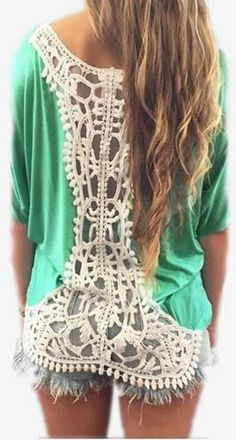 Casual Lace Patchwork Back Hollow Out Short Sleeves Scoop T-shirt