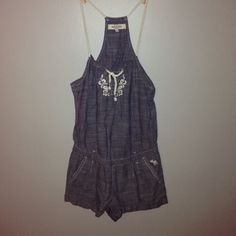 Denim Like Romper This romper is so pretty with intricate flower designs on he back and front! Abercrombie & Fitch Other