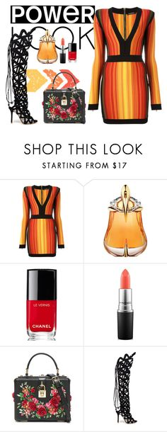 """Power Look"" by callmeblondie-blog on Polyvore featuring moda, Balmain, Thierry Mugler, Chanel, MAC Cosmetics, Dolce&Gabbana e Sophia Webster"