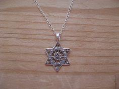 Filigree Star of David Judaica Necklace Sterling Silver Pendant  #judaica