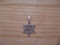 Filigree Star of David Judaica Necklace Sterling Silver Pendant  #judaica