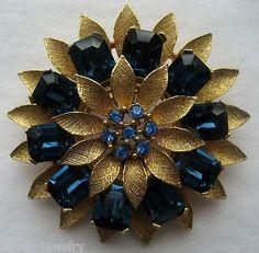 VINTAGE BLUE SAPPHIRE RHINESTONE FLORAL PIN BROOCH MK LISNER   eBay