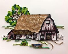 Items similar to Quilling, quilled art, barn, framed art, on Etsy Quilling Images, Paper Quilling Cards, Quilled Paper Art, Paper Quilling Designs, Quilling Paper Craft, Quilling Patterns, Paper Crafts, Quilling Ideas, Paper Quilling For Beginners