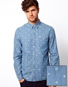 ASOS Denim Shirt in Long Sleeve with Ditsy Print
