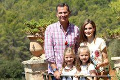 The Spanish Royal Family visit Sierra de Tramuntana, Palma de Mallorca, August 11, 2014-King Felipe, Queen Letizia, Infanta Sofía and Infanta Leonor