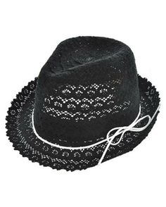 Womens Black Cotton Crochet Lace Fedora Hat White by 3StoresDown by 3StoresDown
