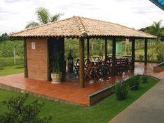 Quiosque e cobertura de Telha Cerâmica para piscina, jardim, churrasqueira