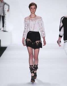 Rebecca Minkoff Look 19: Embroidered Silk Mora Top in Chalk Embroidered Silk Reyes Skirt in Black