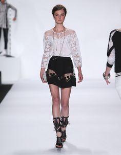 Rebecca Minkoff Look 19: Embroidered Silk Mora Top in Chalk Embroidered Silk Reyes Skirt in Black