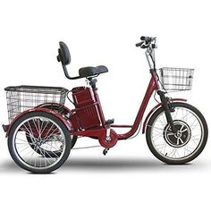 Purchase Your EWheels 500 Watt Adult Electric Powered Tricycle Motorized 3 Wheel Trike Bicycle - Today! Tricycle Bike, Trike Bicycle, Adult Tricycle, Cargo Bike, Trike Scooter, Bicycle Basket, Bicycle Tools, Honda Ruckus, Mini Velo