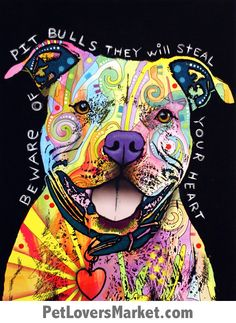 My Wonderful Walls Animal Pop Art by Dean Russo Beware of Pit Bulls Wall Sticker Cut Out, 13 by Multicolored Canvas Wall Art, Canvas Prints, Dog Prints, Big Canvas, Canvas Size, Painting Canvas, Painting Abstract, Animal Prints, Pit Bull Love