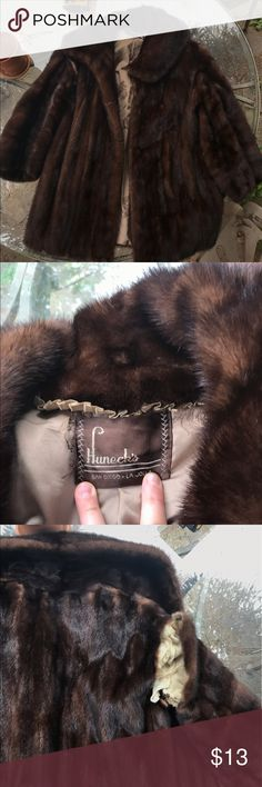 vintage Huneck's fur coat Needs work on the seam. Brown, fabulous, and soft huneck's Jackets & Coats