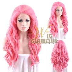 """Long Curly Wavy 24"""" Blonde Mixed Pink Lace Front Wig Heat Resistant #Wigglamour #FullWig"""