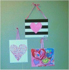 Valentine's Day canvas art with kids - kid crafts - Valentine's Day crafts for kids Valentines For Mom, Valentine Crafts For Kids, Valentines Day Party, Holiday Crafts, Valentine's Day Crafts For Kids, Kid Crafts, Mom Day, Girl Scouts, Craft Gifts