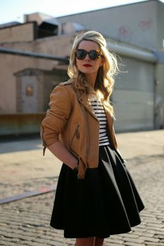 Brown Leather Jacket with Stripes,Skirt and Leopard Shades