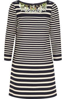 J.Crew Collection embellished striped cotton-blend mini dress