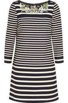 J.Crew Collection embellished striped cotton-blend mini dress