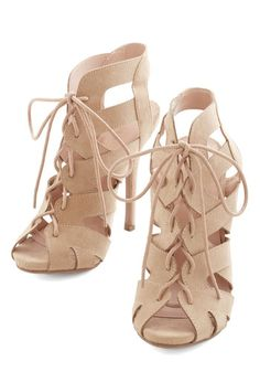Strappy Days Heel - High, Faux Leather, Tan, Solid, Cutout, Party, Girls Night Out, Urban, Good, Lace Up, Peep Toe