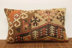 Decorative lumbar kilim pillow 12 x 20 Anatolian by kilimwarehouse, $53.00